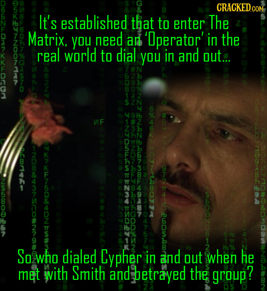 DUOLOZLLOREAYLLOCON CRACKEDco It's established that to enter The Matrix. you need an 'perator' in the real world to dial you in and out... SZN MF 0.Cc