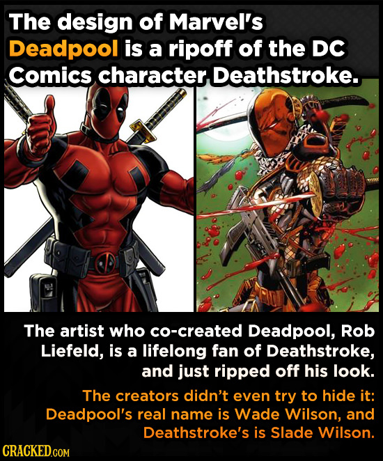 The design of Marvel's Deadpool is a ripoff of the DC Comics character. Deathstroke. The artist who co-created Deadpool, Rob Liefeld, is a lifelong fa