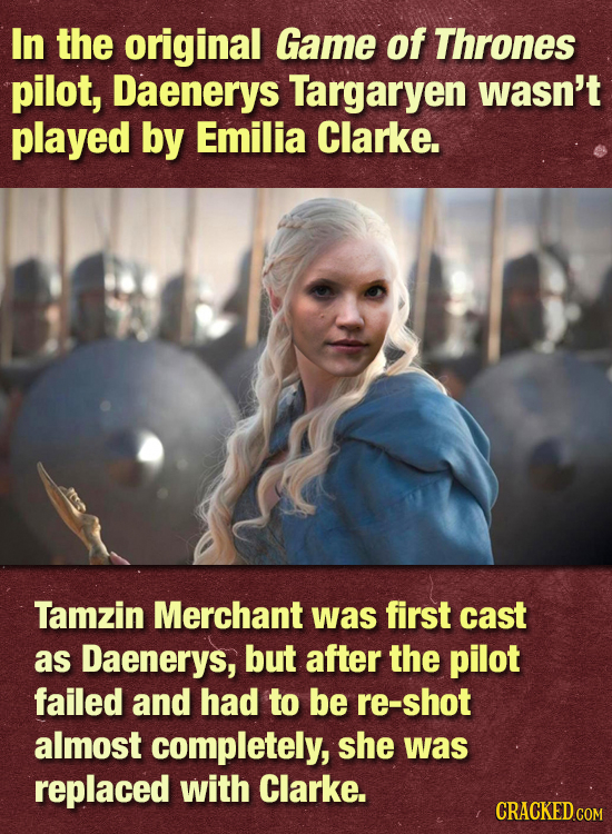 In the original Game of Thrones pilot, Daenerys Targaryen wasn't played by Emilia Clarke. Tamzin Merchant was first cast as Daenerys, but after the pi