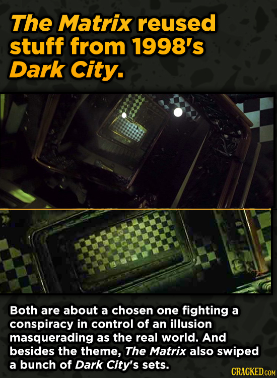 Iconic Movies You Didn't Know Reused Their Props And Sets - The Matrix reused stuff from 1998's Dark City.