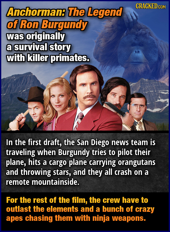 Anchorman: The Legend CRACKEDCO of Ron Burgundy was originally a survival story with killer primates. In the first draft, the San Diego news team is t