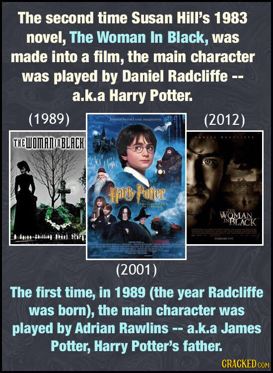 The second time Susan Hill's 1983 novel, The Woman In Black, was made into a film, the main character was played by Daniel Radcliffe -- a.k.a Harry Po