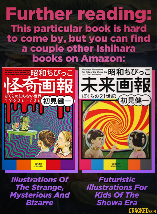 Further reading: This particular book is hard to come by, but you can find a couple other Ishihara books on Amazon: BI Futuristic uatrations B for idd