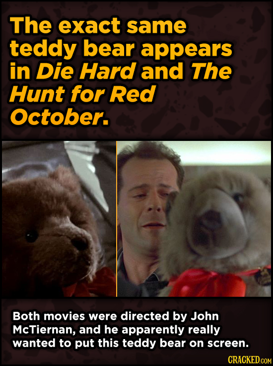 Iconic Movies You Didn't Know Reused Their Props And Sets - The exact same teddy bear appears in Die Hard and The Hunt for Red October.