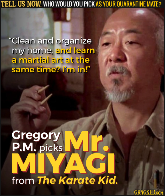 TELL US NOW. WHO WOULD YOU PICK AS YOUR QUARANTINE MATE? Clean and organize my home, and learn a martial art at the same time? I'm in! Gregory Mr. P