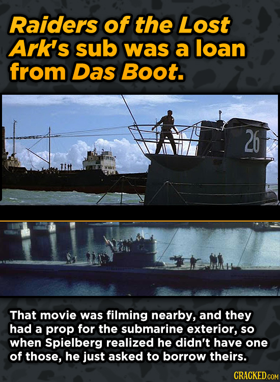 Iconic Movies You Didn't Know Reused Their Props And Sets - Raiders of the Lost Ark's sub was a loan from Das Boot.