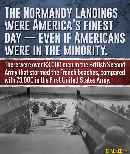 THE NORMANDY LANDINGS WERE AMERICA'S FINEST DAY EVEN IF AMERICANS WERE IN THE MINORITY. There were over 83,000 men in the British Second Army that sto
