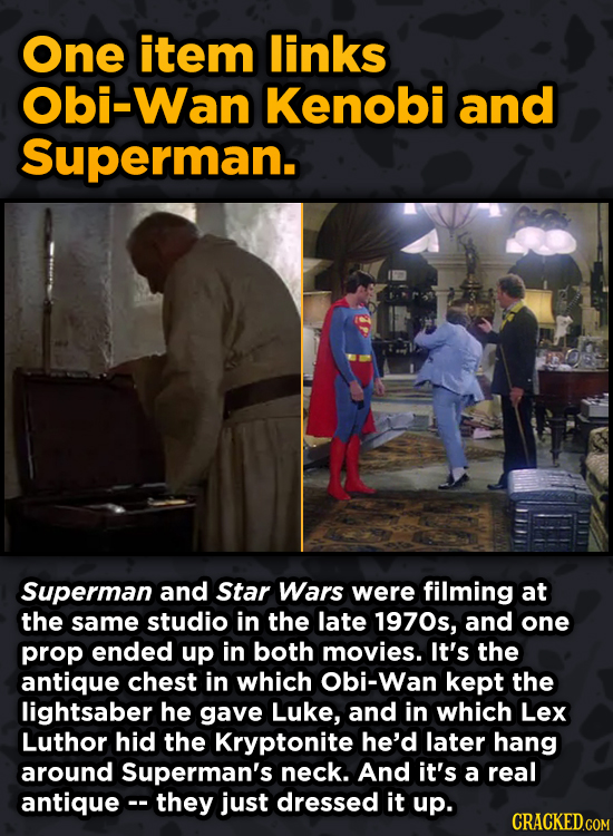 Iconic Movies You Didn't Know Reused Their Props And Sets - One item links bi-Wan Kenobi and Superman.