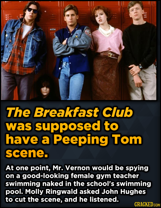 Bizarre Scenes That Almost Made It Into Famous Movies - The Breakfast Club was supposed to have a Peeping Tom scene.