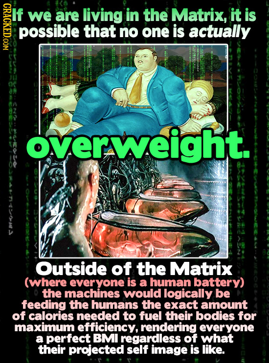 HDAO If we are living in the Matrix, it is possible that no one is actually overweig overweight. Outside of the Matrix (where everyone is a human batt