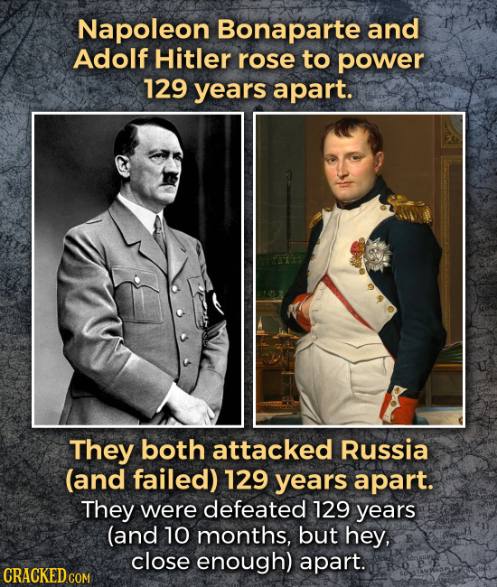 Napoleon Bonaparte and Adolf Hitler rose to power 129 years apart. They both attacked Russia (and failed) 129 years apart. They were defeated 129 year