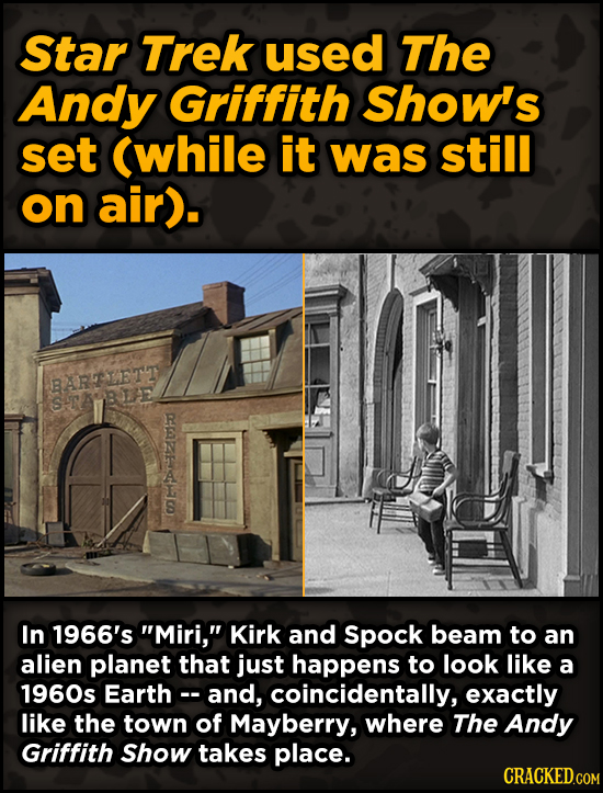 Iconic Movies You Didn't Know Reused Their Props And Sets - Star Trek used The Andy Griffith Show's set (while it was still on air).
