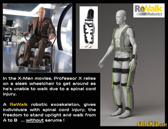 ReNalk Robotics ln the X-Meo movies, Professor x relies on a sleek wheelchair to get around as he's unable to walk due to a spinal cord injury. A ReWa