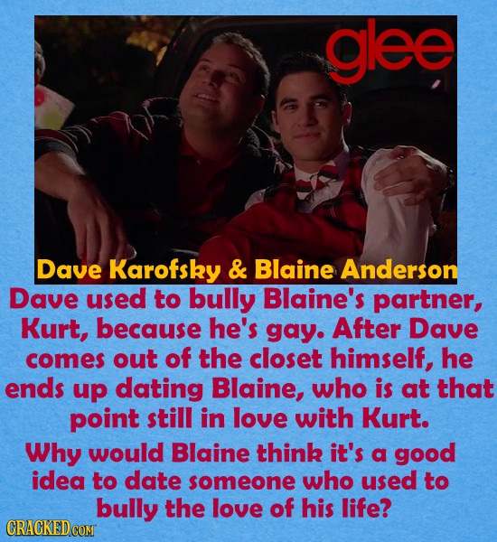 glee Dave Karofsky & Blaine Anderson Dave used to bully Blaine's partner, Kurt, because he's gay. After Dave comes out of the closet himself, he ends