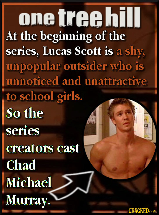 one tree hill At the beginning of the series, Lucas Scott is a shy, unpopular outsider who is unnoticed and unattractive to school girls. So the serie