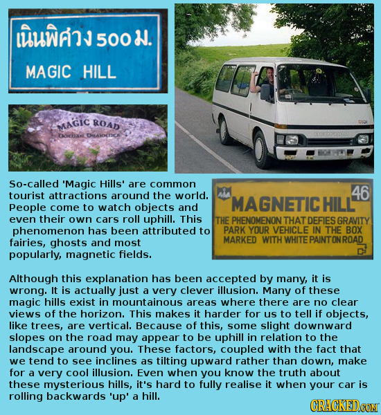 1A 500 . MAGIC HILL ROAD MAGIC bocha DrAlochc So-called 'Magic Hills' are common 46 tourist attractions around the world. MAGNETIC HILL People come to