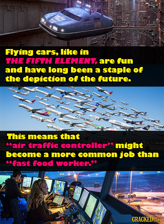 Flying cars, like in THE FIFTH ELEMENT, are fun and have long been a staple of the depiction of the future. This means that air traffic controller m