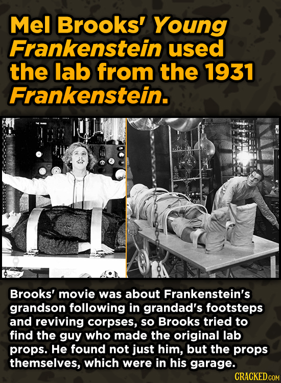 Iconic Movies You Didn't Know Reused Their Props And Sets - Mel Brooks' Young Frankenstein used the lab from the 1931 Frankenstein.