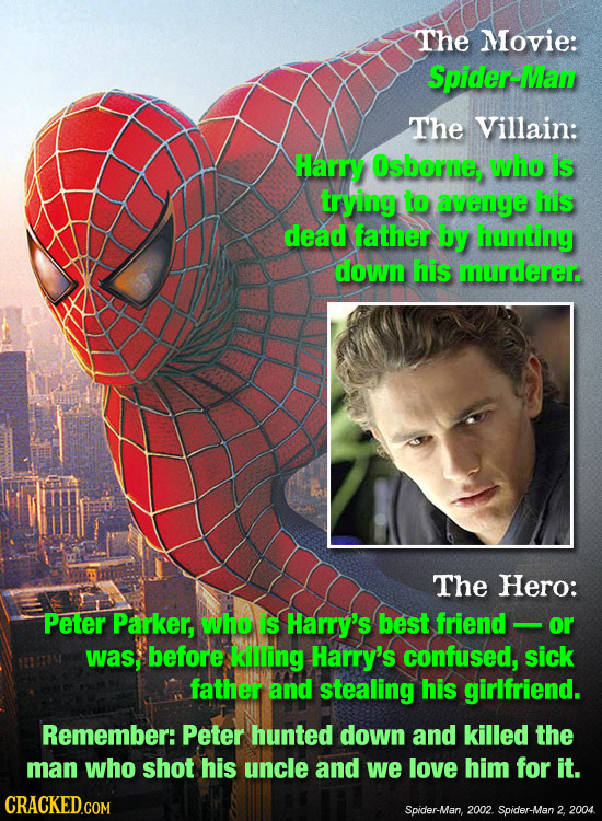 The Movie: Spider-IMan The Villain: Harry Osborne, who is trying to avenge his dead father by hunting down his murderer. The Hero: Peter Parker, who i