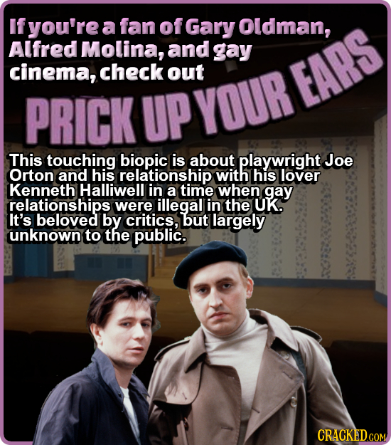 If you're a fan of Gary Oldman, Alfred Molina, and gay cinema, check out EARS PRICK UP YOUR This touching biopic is about playwright Joe Orton and his
