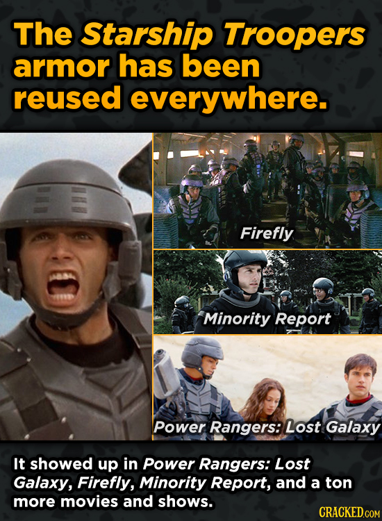 Iconic Movies You Didn't Know Reused Their Props And Sets - The Starship Troopers armor has been reused everywhere.