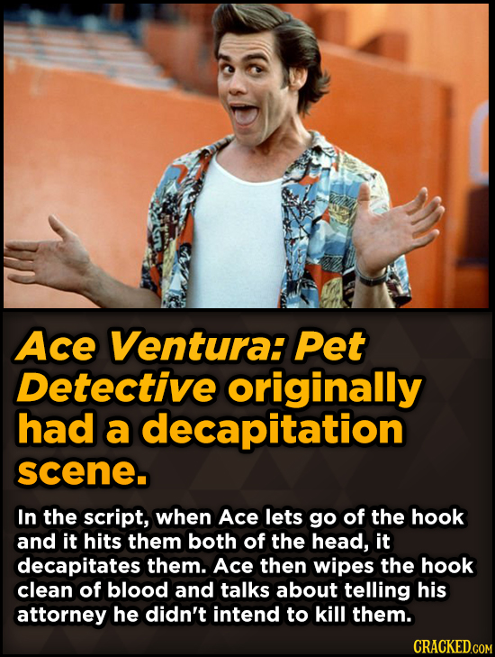 Bizarre Scenes That Almost Made It Into Famous Movies - Ace Ventura: Pet Detective originally had a decapitation scene.