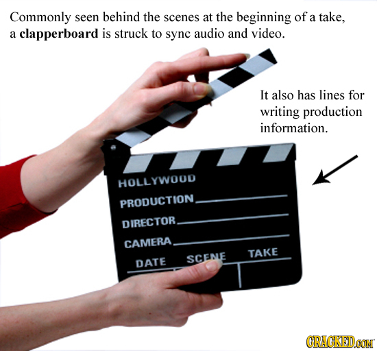 Commonly seen behind the scenes at the beginning of a take. a clapperboard is struck to sync audio and video. It also has lines for writing production
