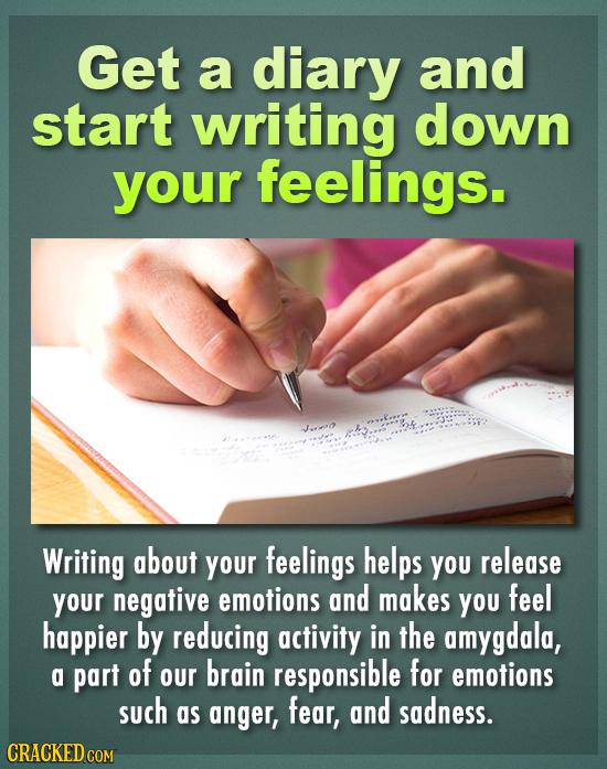 Get a diary and start writing down your feelings. J..o h Writing about your feelings helps You release your negative emotions and makes YOU feel happi