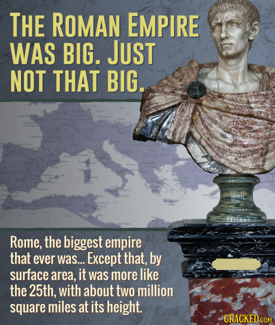 THE ROMAN EMPIRE WAS BIG. JUST NOT THAT BIG. Rome, the biggest empire that ever was... Except that, by surface area, it was more like the 25th, with a