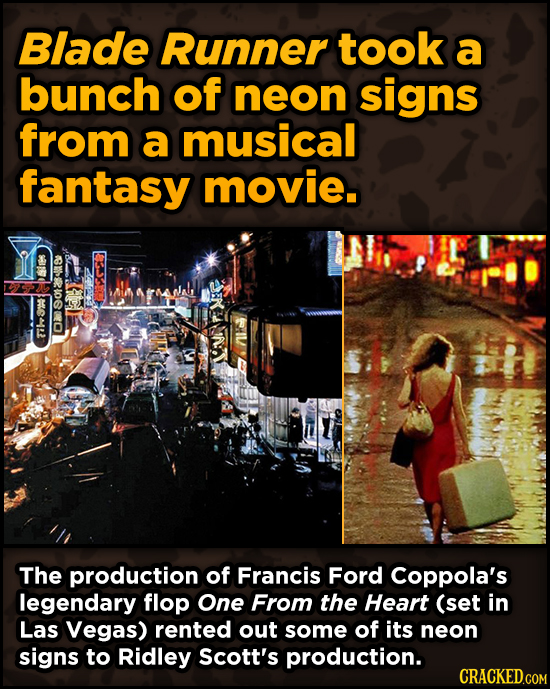 Iconic Movies You Didn't Know Reused Their Props And Sets - Blade Runner took a bunch of neon signs from a musical fantasy movie.