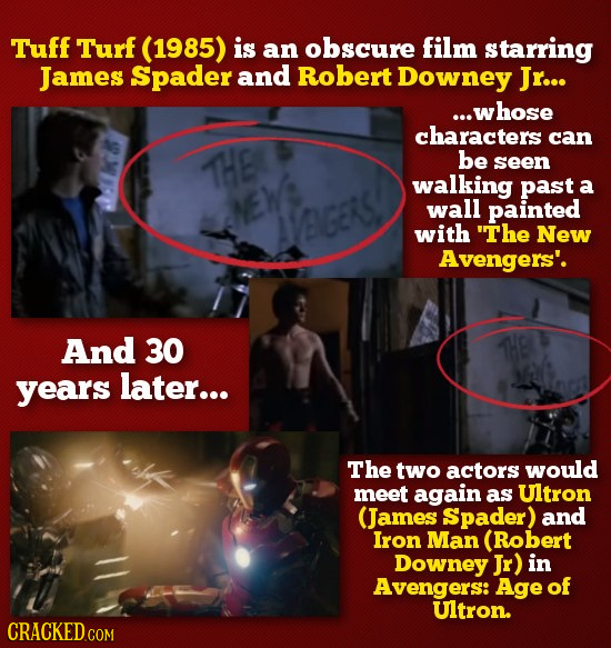 Tuff Turf (1985) is an obscure film starring James Spader and Robert Downey Jr... ...whose characters can THB be seen walking past a NEW wall painted