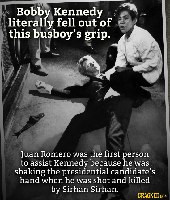 Bobby Kennedy literally fell out of this busboy's grip. Juan Romero was the first person to assist Kennedy because he was shaking the presidential can