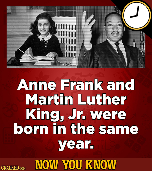 Anne Frank and Martin Luther King, Jr. were born in the same year. NOW YOU KNOW CRACKED COM