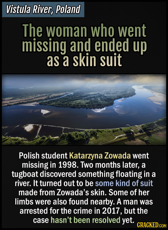Vistula river, Poland - The woman who went missing and ended up as a skin suit - Polish student Katarzyna Zowada went missing in 1998. Two months late