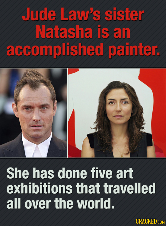 Jude Law's sister Natasha is an accomplished painter. She has done fiVE art exhibitions that travelled all over the world. CRACKED COM