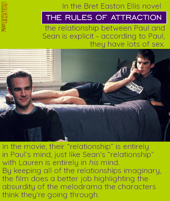 CRACKEDCONT In the Bret Easton Ellis novel THE RULES OF ATTRACTION the relationship between Paul and Sean is explicit according to Paul, they have lot