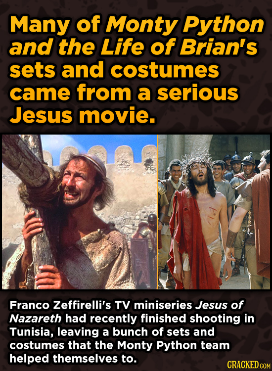 Iconic Movies You Didn't Know Reused Their Props And Sets - Many of Monty Python and the Life of Brian's sets and costumes