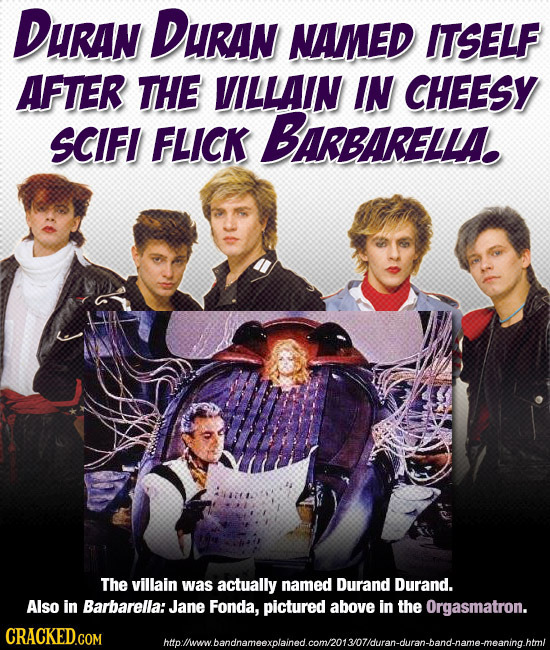 DuRAN DURAN NAMED ITSELF AFTER THE VILLAIN IN CHEESY SCIFI FLICK BARBARELLAE The villain was actually named Durand Durand. Also in Barbarella:Jane Fon