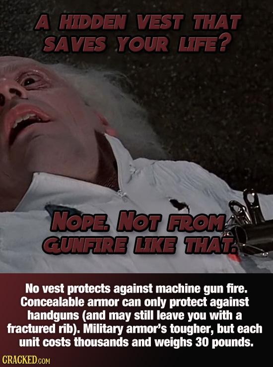 A HIDDEN VEST THAT SAVES YOUR LIFE? NOPE NOT FROM GUNFIRE LIKE THAT No vest protects against machine gun fire. Concealable aror can only protect again