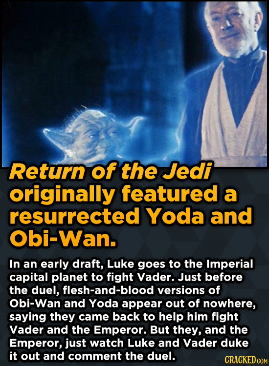 Bizarre Scenes That Almost Made It Into Famous Movies - Return of the Jedi originally featured a resurrected Yoda and Obi-Wan.
