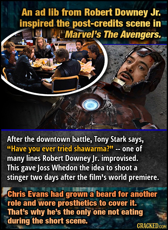 An ad lib from Robert Downey Jr. inspired the post-credits scene in Marvel's The Avengers. After the downtown battle, Tony Stark says, Have you ever