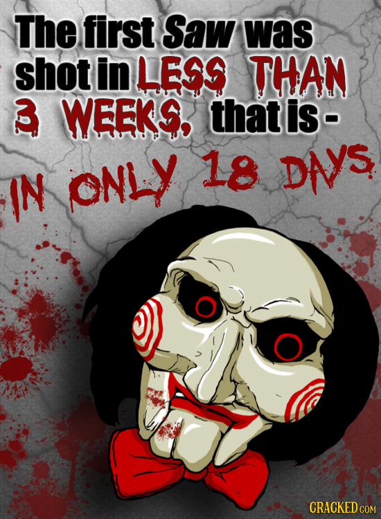 The first Saw was shot in LESS THAN WEEKS that is- ONLY 18 IN DNS CRACKED COM