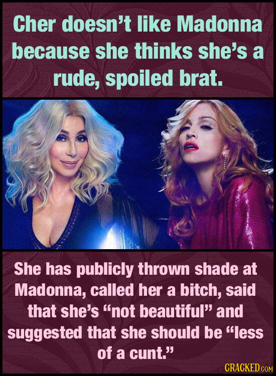 Cher doesn't like Madonna because she thinks she's a rude, spoiled brat. She has publicly thrown shade at Madonna, called her a bitch, said that she's