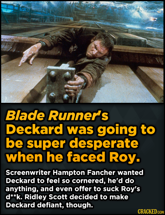 Bizarre Scenes That Almost Made It Into Famous Movies - Blade Runner's Deckard was going to be super desperate when he faced Roy.