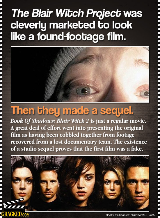 The Blair Witch Project was cleverly marketed to look like a found-footage film. Then they made a sequel. Book of Shadows: Blair Witch 2 is just a reg