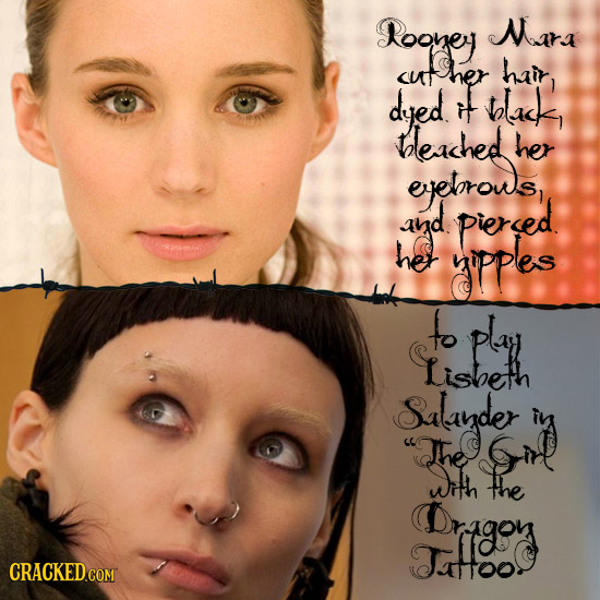 Rooney Mara her hair <ut dyed black, t leached her eelrows ayd piersed he yippes to play Lisbseth &alayder The wh the rigoy JAHOO