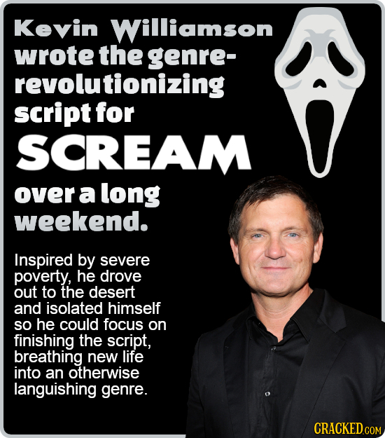 Kevin Williamson wrote the genre- revolutionizing script for SCREAM over a long weekend. Inspired by severe poverty, he drove out to the desert and is