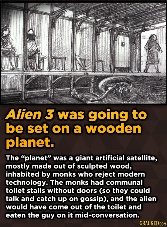 Bizarre Scenes That Almost Made It Into Famous Movies - Alien 3 was going to be set on a wooden planet.