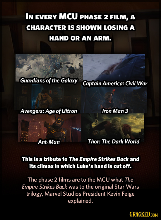 IN EVERY MCU PHASE 2 FILM, A CHARACTER IS SHOWN LOSING A HAND OR AN ARM. Guardians of the Galaxy Captain America: Civil War Avengers: Age of UItron Ir