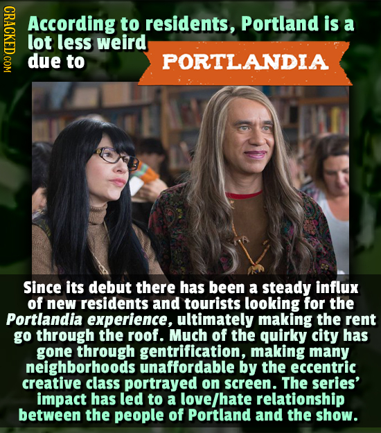CRACK According to residents, Portland is a lot less weird due to PORTLANDIA Since its debut there has been a steady influx of new residents and touri